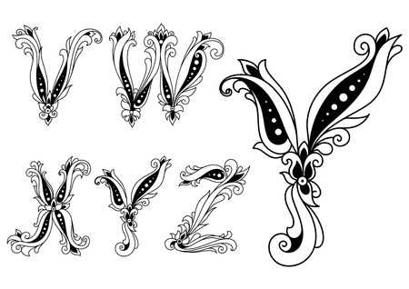 y ornament: Black and white floral forming capital letters V, W, X, Y and Z on white background
