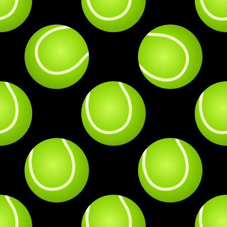 backhand: Sporting seamless pattern with green tennis ball on black background for sport design and page fill Illustration