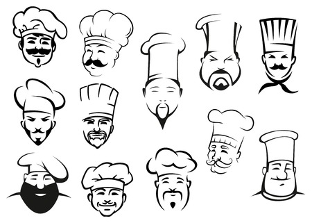 European, american and asian chefs in toques, cartoon sketch style