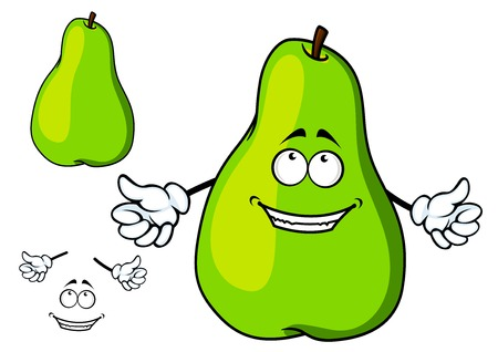 Happy green cartoon pear giving a thumbs up gesture of approval or success, plus a second plain variant with separate smile and hand elements