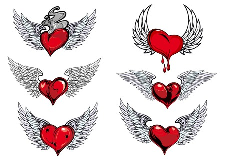 classic tattoo: Colorful red and grey winged heart icons with one dripping blood, one smoking hot, in different shapes for tattoo design