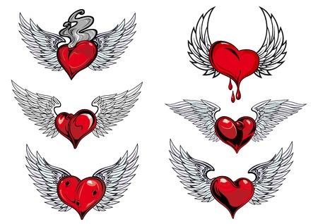 Coloridos iconos de color rojo y gris con alas del corazón con una sangre que gotea, un ahumado en caliente, en diferentes formas para el diseño del tatuaje Foto de archivo - 36299373