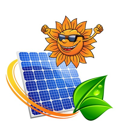 entwined: Happy trendy sun wearing sunglasses and cheering with a photovoltaic panel for producing sustainable solar energy entwined with a green eco leaf