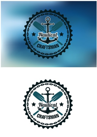 circular chain: Circular blue nautical craftsman badge or emblem with crossed oars and a ships anchor with a chain frame Illustration