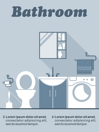 vanity: Bathroom flat interior decor and design infographic with editable text space showing a toilet, vanity unit, wall cabinet and washing machine in shades of blue Illustration