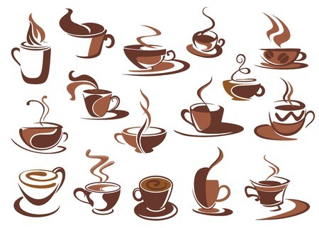 steaming coffee: Set of hot coffee icons and symbols with cups and mugs of steaming beverage in various shapes, sketch style