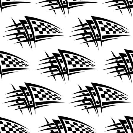 Nahtloses Muster mit Tribal-Rennen karierte Flagge Tattoo für Sport-Design Standard-Bild - 36299611
