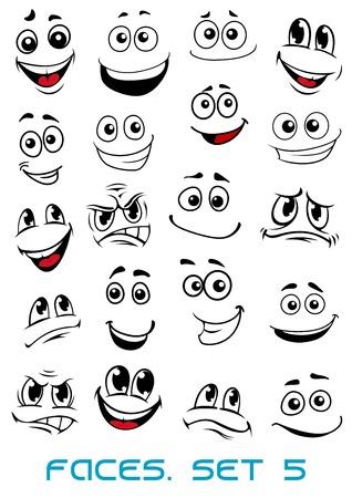 Caras dos desenhos animados com diferentes expressões, principalmente felizes e sorridentes, com os olhos e a boca, elementos de design em branco