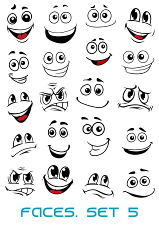 character: Cartoon faces with different expressions, mostly happy and smiling, featuring the eyes and mouth, design elements on white