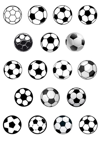 Black and white vector soccer balls or footballs isolated on white background for heraldic or sporting emblems design