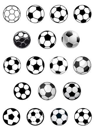 pelota de futbol: Bolas de vectores de f�tbol en blanco y negro o balones de f�tbol aislados sobre fondo blanco para el dise�o her�ldico o emblemas deportivos
