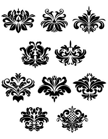 Black damask floral and foliate design elements isolated on white background suitable for patterns or ornaments