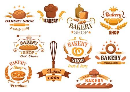 pain: Grand jeu d'�tiquettes de boulangerie ou badges d�cor�e avec du bl�, du pain, des tartes, croissants, baguette, bretzel, fouetter, une tuque et un rouleau � p�tisserie avec diff�rents textes