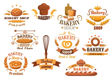 Large set of bakery labels or badges decorated with wheat, bread, tarts, croissant, baguette, pretzel, whisk, toque, and rolling pin with various texts Vettoriali