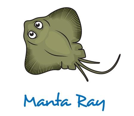 Cartoon manta ray viewed from above with large eyes and text Manta Ray below