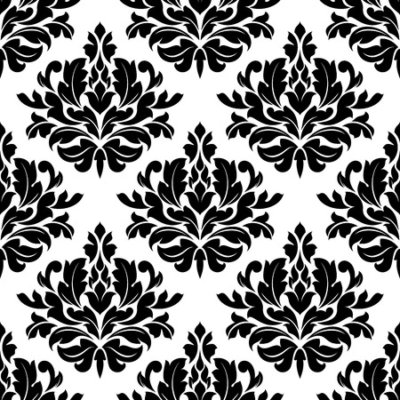 Classic damask floral seamless pattern with black flowers on white background