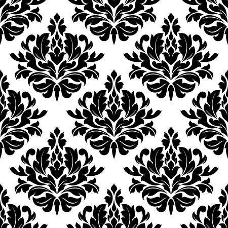 Classic damast bloemen naadloze patroon met zwarte bloemen op witte achtergrond