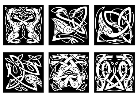 Set of stylish intricate stylized birds and animals in an intertwined form in white silhouettes on black in square format Vector
