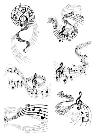 musical notes background: Black and white musical notes and clefs on swirling staves in various flowing wave shapes