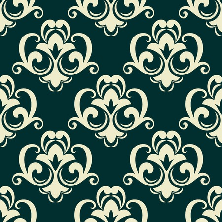 dainty: Beige on green seamless floral pattern with dainty flowers