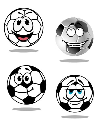 droopy: Cartoon soccer or football characters with happy smiling faces, two with goofy droopy eyes, isolated on white background