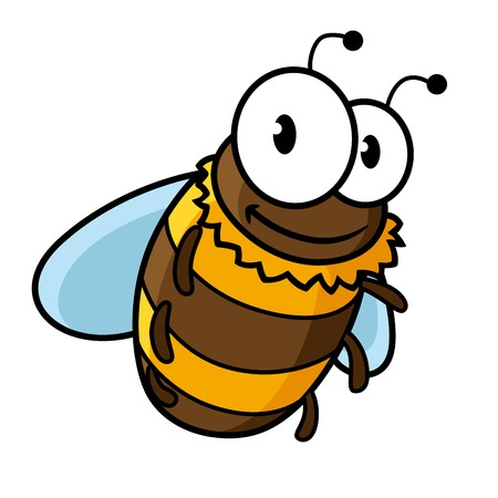 Happy flying cartoon bumble bee or honey bee with a striped body and large googly eyes Vector