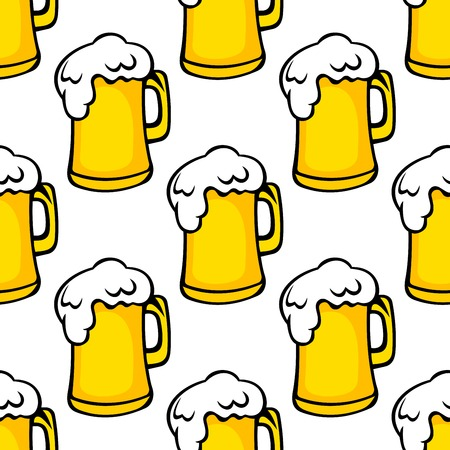 Seamless pattern of yellow frothy beer tankards. Suitable for pub, oktoberfest and restaurant design