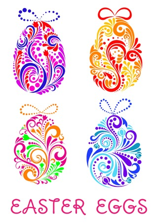 topped: Floral decorative patterned Easter Eggs composed of colorful swirling patterns topped with bows with text below