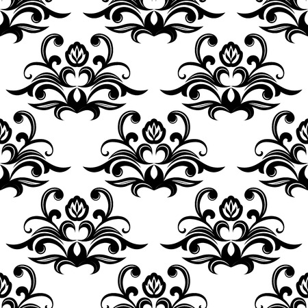 dainty: Dainty floral seamless pattern with vintage black flourishes and blossoms Illustration
