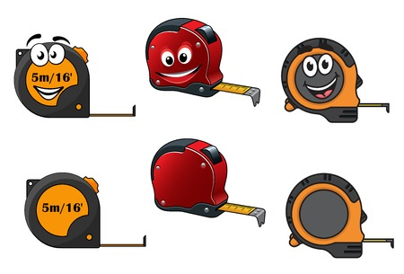 measures: Set of retractable tape measures with and without happy smiling faces, isolated on white Illustration