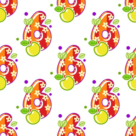 Cartoon colorful number six seamless pattern for children holidays design Vector
