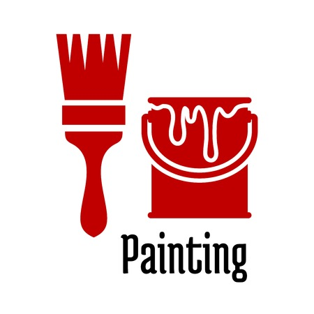 Het schilderen van iconen met een borstel en druipend verfblik voor de bouw of het huishouden symbool ontwerp Stock Illustratie
