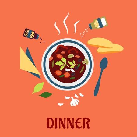 vista desde arriba: La cena con un plato de sopa caliente vista desde arriba rodeado de pan blanco, hierbas, condimentos condimentos una servilleta y cuchara. Estilo Flat Vectores