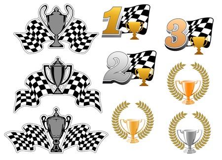 bandera carreras: Conjunto de iconos deportivas y de carreras de motor con primero, lugares segundo y tercero, trofeos, guirnaldas y banderas a cuadros para los premios del campeonato