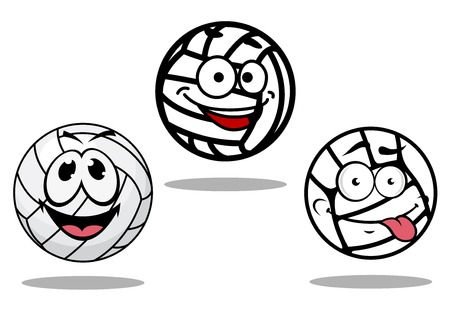 protruding: Three white cartoon volley balls characters, two with happy smiling faces an one with a protruding tongue and grin