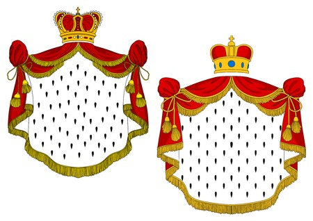 Heraldic royal mantles with red silk, golden crowns and decorative elements