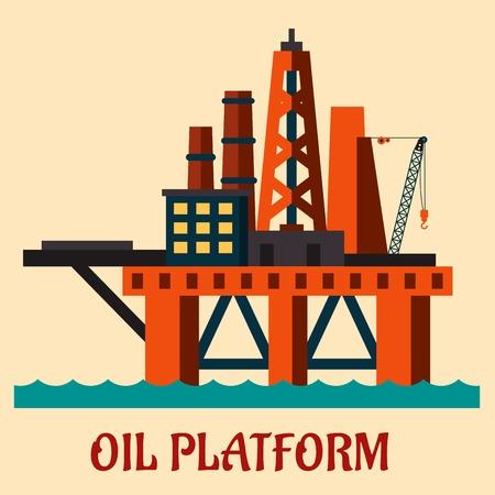 barril de petróleo: Cartoon plataforma petrolera del mar se levanta sobre el mar la extracción de petróleo en alta mar, estilo plano Vectores