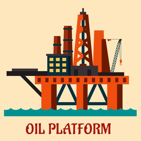 Cartoon  sea oil platform rising above the sea drilling for offshore oil, flat style