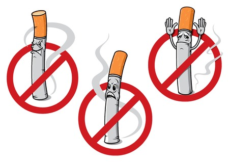 no fumar: Historieta ninguna fumar signos que representan los cigarrillos consternados, enojado o se rend�an con espirales de humo