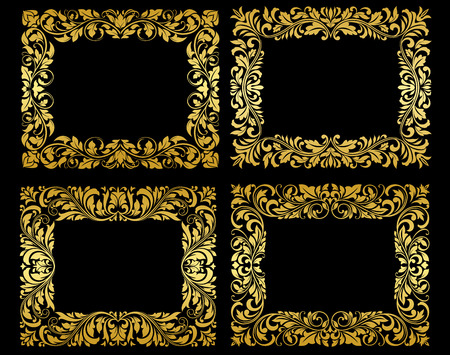foliate: Ornate gold floral and foliate frames in elegant flowing patterns, design elements on black