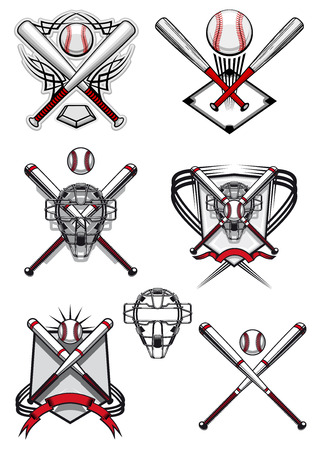 Baseball symbols and logo depicting balls, crossed bats, masks and field in traditional red, white colors decorated heraldic shields and tribal ornaments Vector