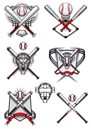 at bat: Símbolos de béisbol y logotipo que representa pelotas, palos cruzados, máscaras y campo en el tradicional rojo, colores blancos decorados escudos heráldicos y adornos tribales Vectores