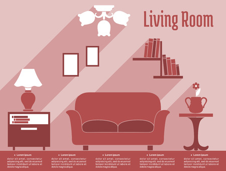 bedside: Living room interior infographic in flat style showing sofa, bedside tables, lamp, bookshelf, chandelier in red and white with caption Living Room and text layout for apartment design