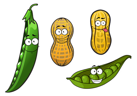 Cartoon opened green pea pods with stalk and glossy peas and whole peanuts in yellow dry shells with funny smiling faces for vegetarian or healthy nutrition concept design Vector
