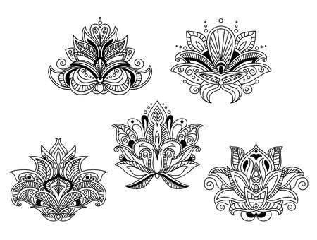 embellishment: Delicate openwork outline paisley flowers with pointed petals and leaves for vintage textile or lace embellishment design