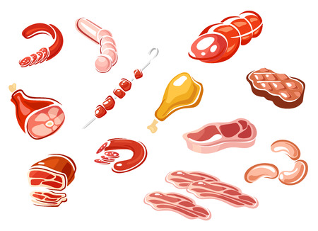 bacon strips: Sausage and meat products in cartoon style depicting bacon strips, sliced sausages and roast beef, grilled and fresh steaks, chicken and pork gammon, kebab on skewer Illustration