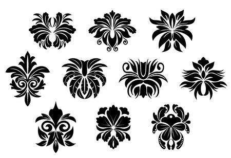 ancient scroll: Black vintage floral elements with abstract bold flowers ornate decorated twirls, curly tendrils and leaf compositions for damask style interior design Illustration