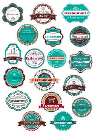 logotipos de restaurantes: Restaurante y panadería etiquetas retro en elegante combinación de colores azul, marrón y rosa de la vendimia con las tazas de café, gorro de cocinero, torta, tenedores, cucharas, cuchillos Vectores