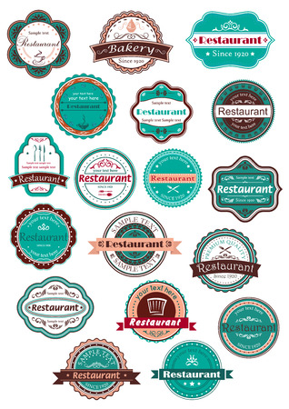 Retro restaurant and bakery labels in stylish combination of vintage blue, brown and pink colors with cups of coffee, chef hat, cake, forks, spoons, knives Illustration