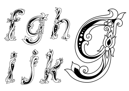 g alphabet: Vintage floral ornamental letters font with lowercase f, g, h, i, j, k in outline sketch style for romantic style invitation or monogram design